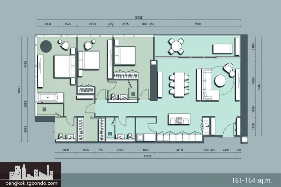 185 Rajadamri, 3 Bedrooms